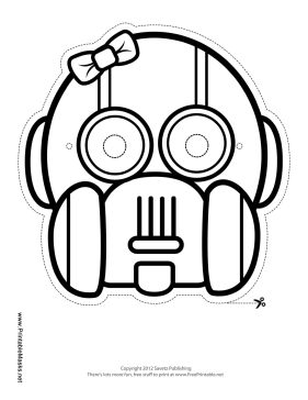 This blank girl's robot mask has rounded features and wears a small bow. Color in her head and eyes like your favorite robot. Free to download and print