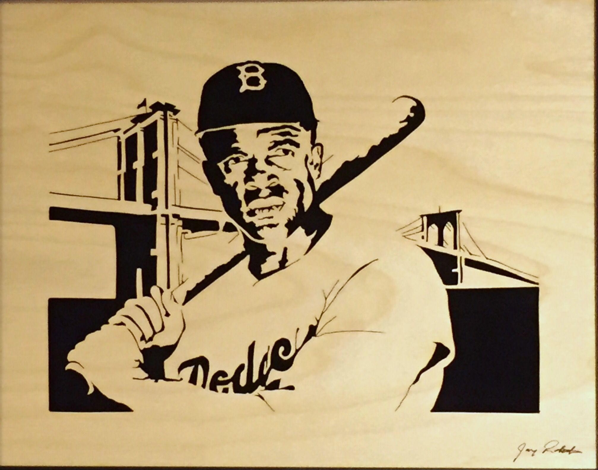 Forty Two Jackie Robinson Scroll Saw Portrait By Jay Roberts African American Art Kids Portraits Portrait