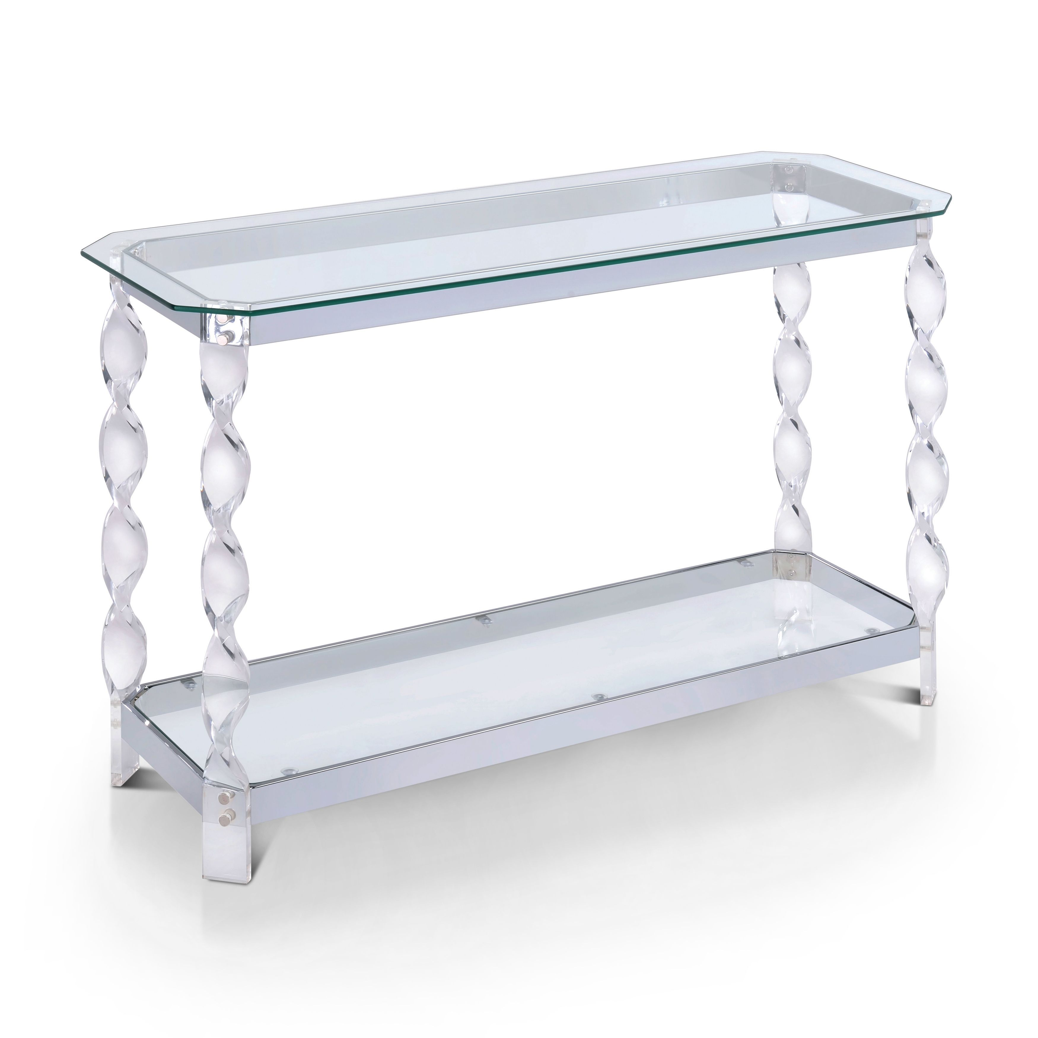 Glass console table with shelf furniture of america monrow contemporary clear glasschrome sofa
