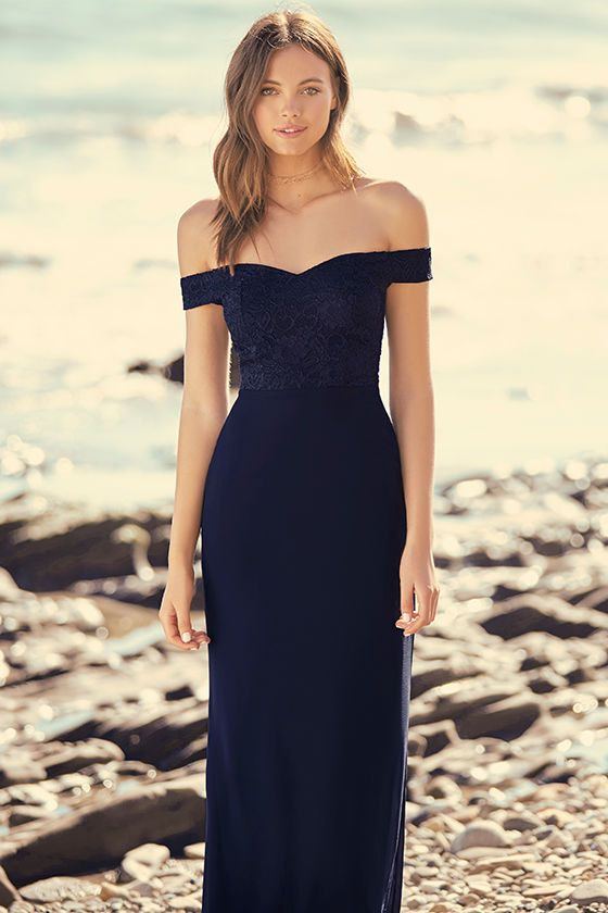 Make a stunning impression that will last a lifetime in the Dress to  Impress Navy Blue Lace Off-the-Shoulder Maxi Dress! Elegant lace covers a  sweetheart ... 783c0b7245c7c