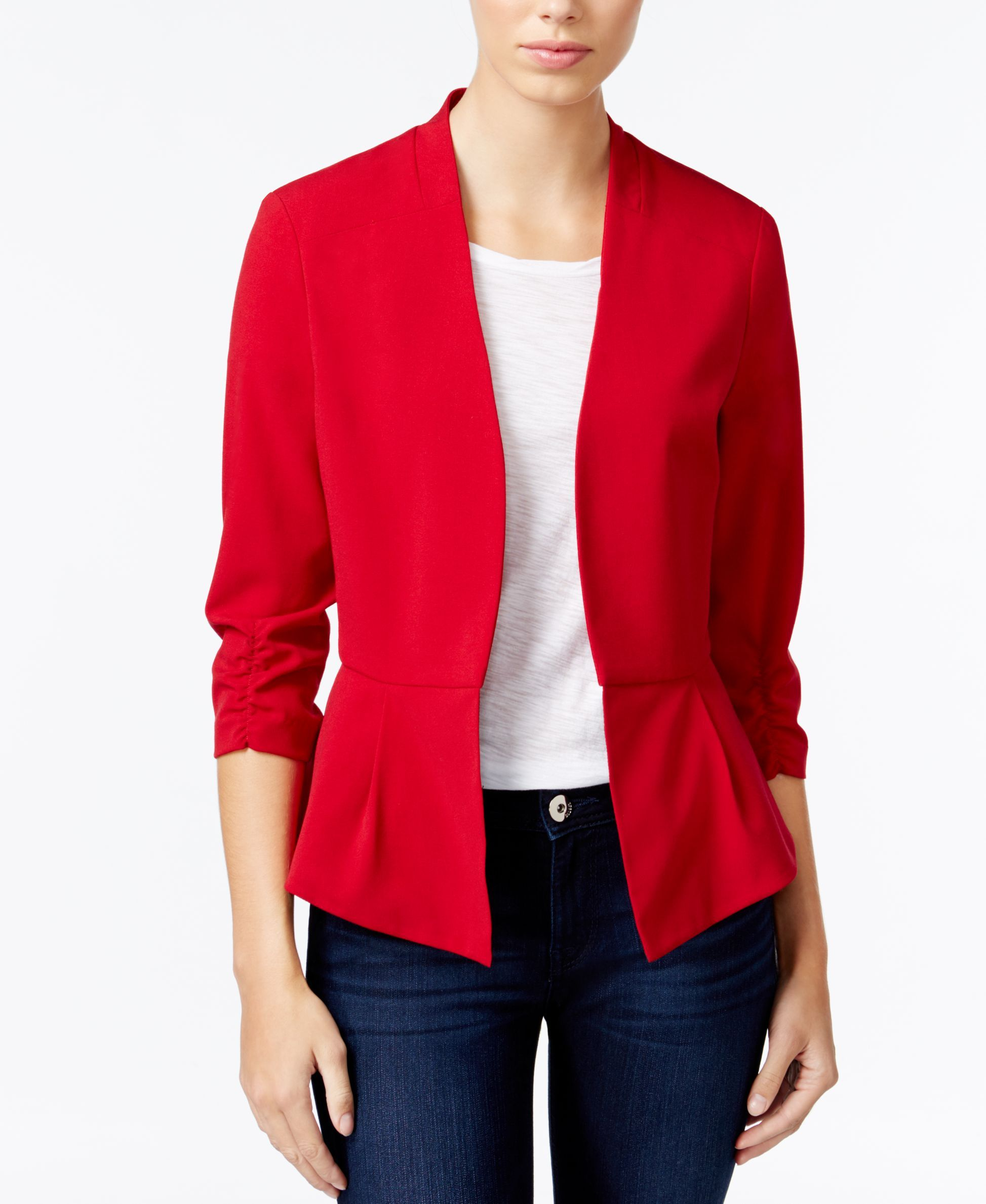 Bcx Juniors' Ruched-Sleeve Open-Front Blazer | Products ...