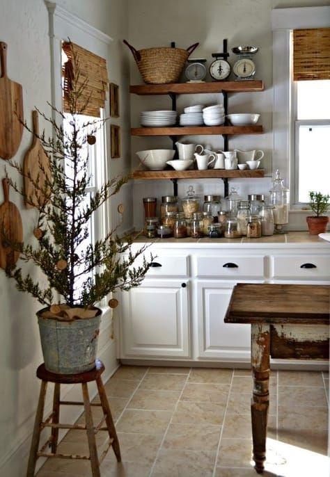 cucina-mobili-bianchi-mensole-legno nel 2019   Cucine ...