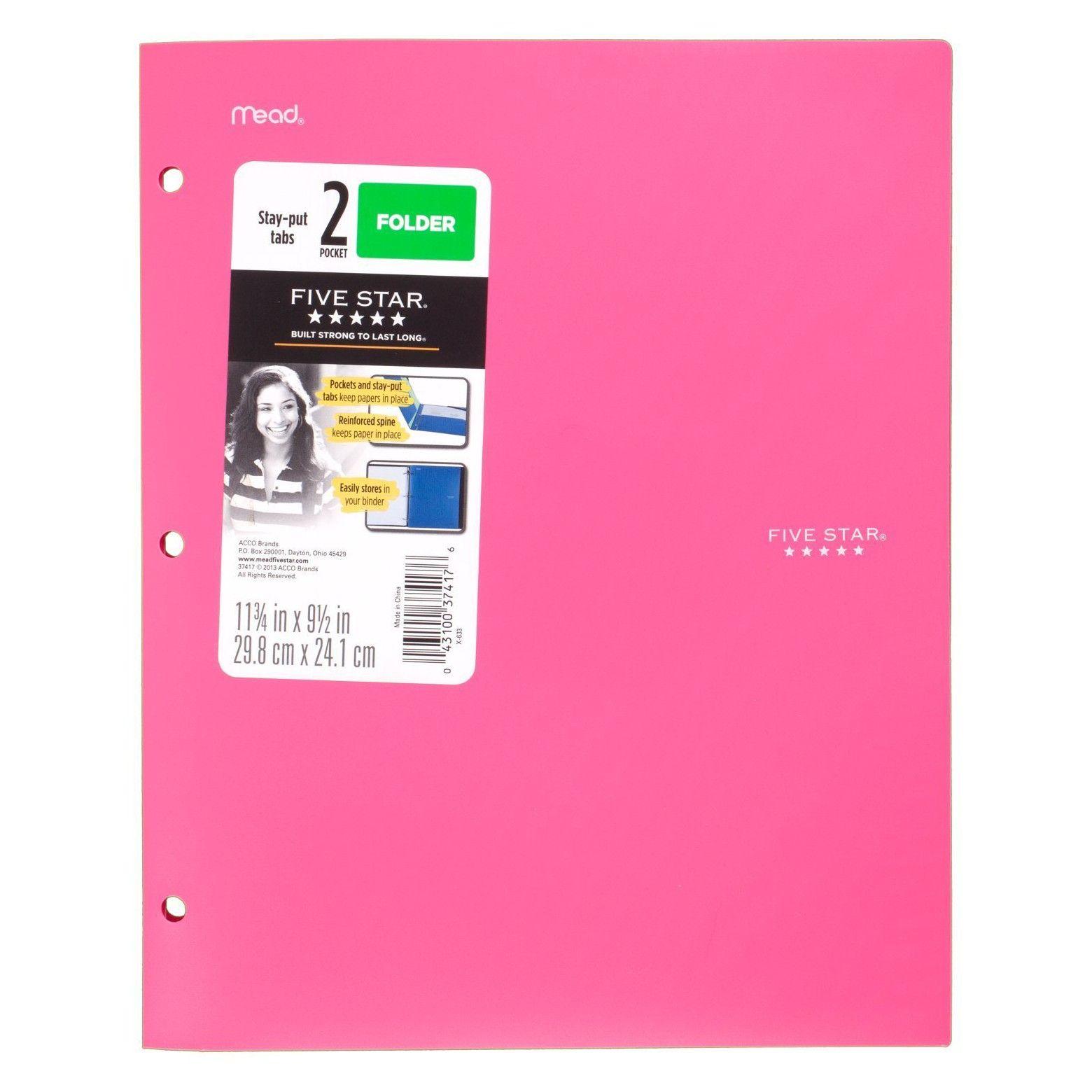 Five Star Plastic Folder Reinforced Spine 2 Pocket