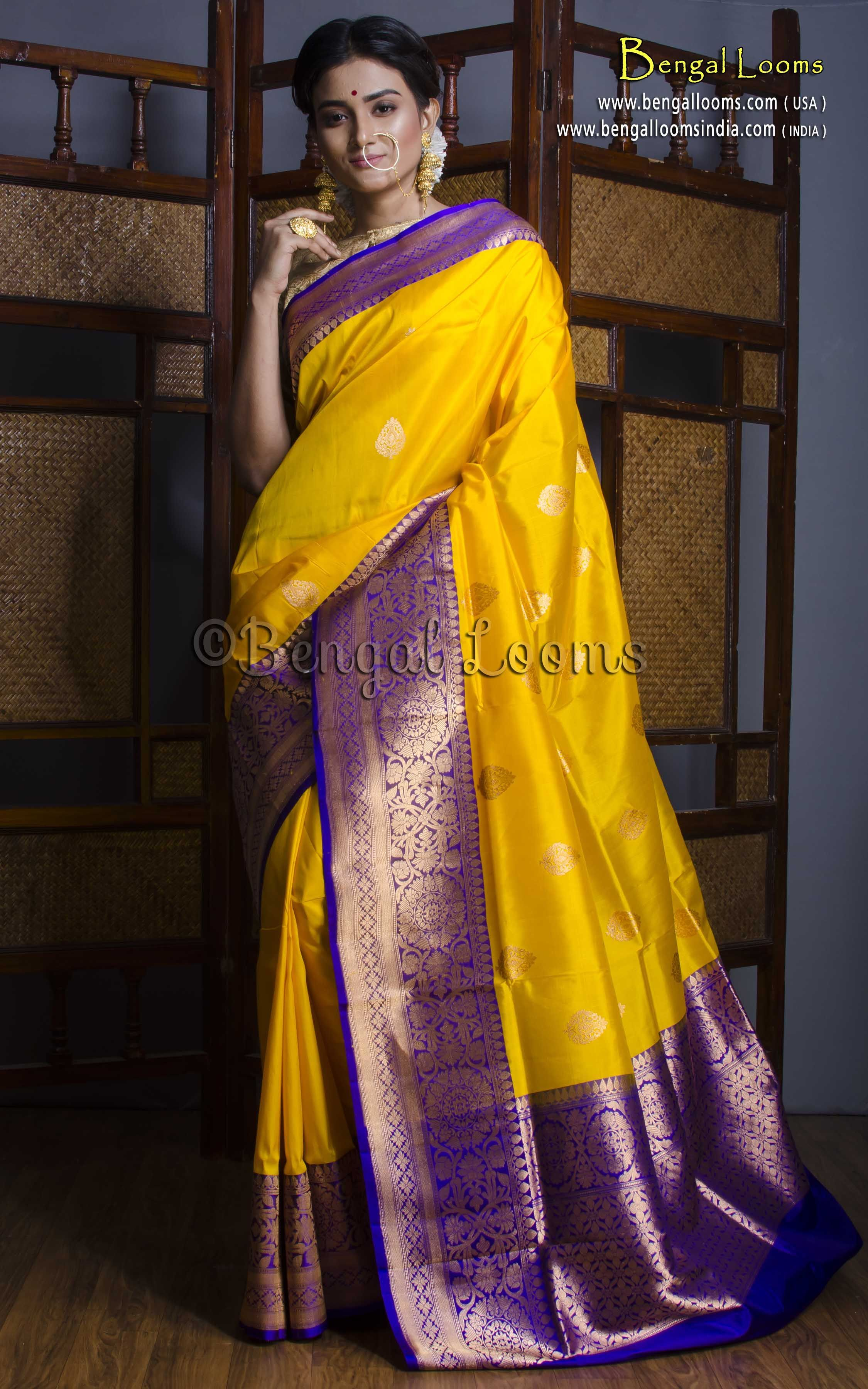 c5e92549019 Pure Handloom Katan Silk Banarasi Saree in Bright Yellow and ...
