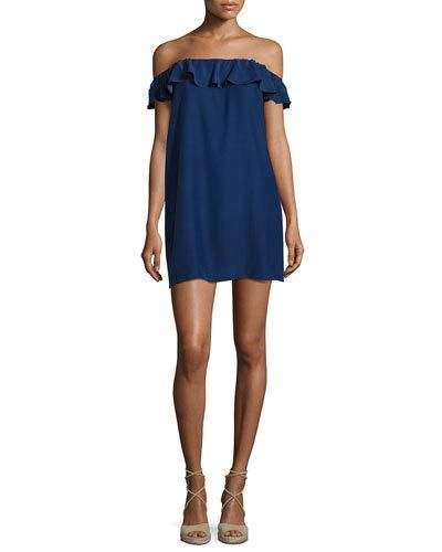 Joanna Off-The-Shoulder Mini Dress, Navy