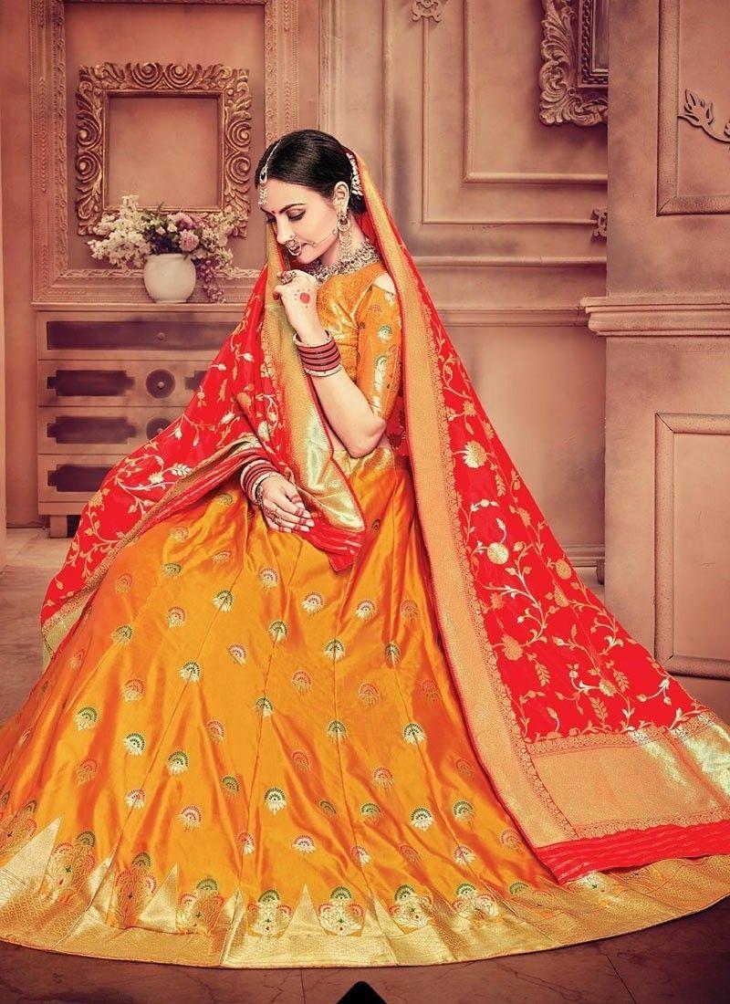 c0e7cfc840 Orange Lehenga Choli, Banarasi Silk Lehenga Choli, ₹12,400.00. Buy latest  Lengha choli with custom stitching and worldwide shipping.