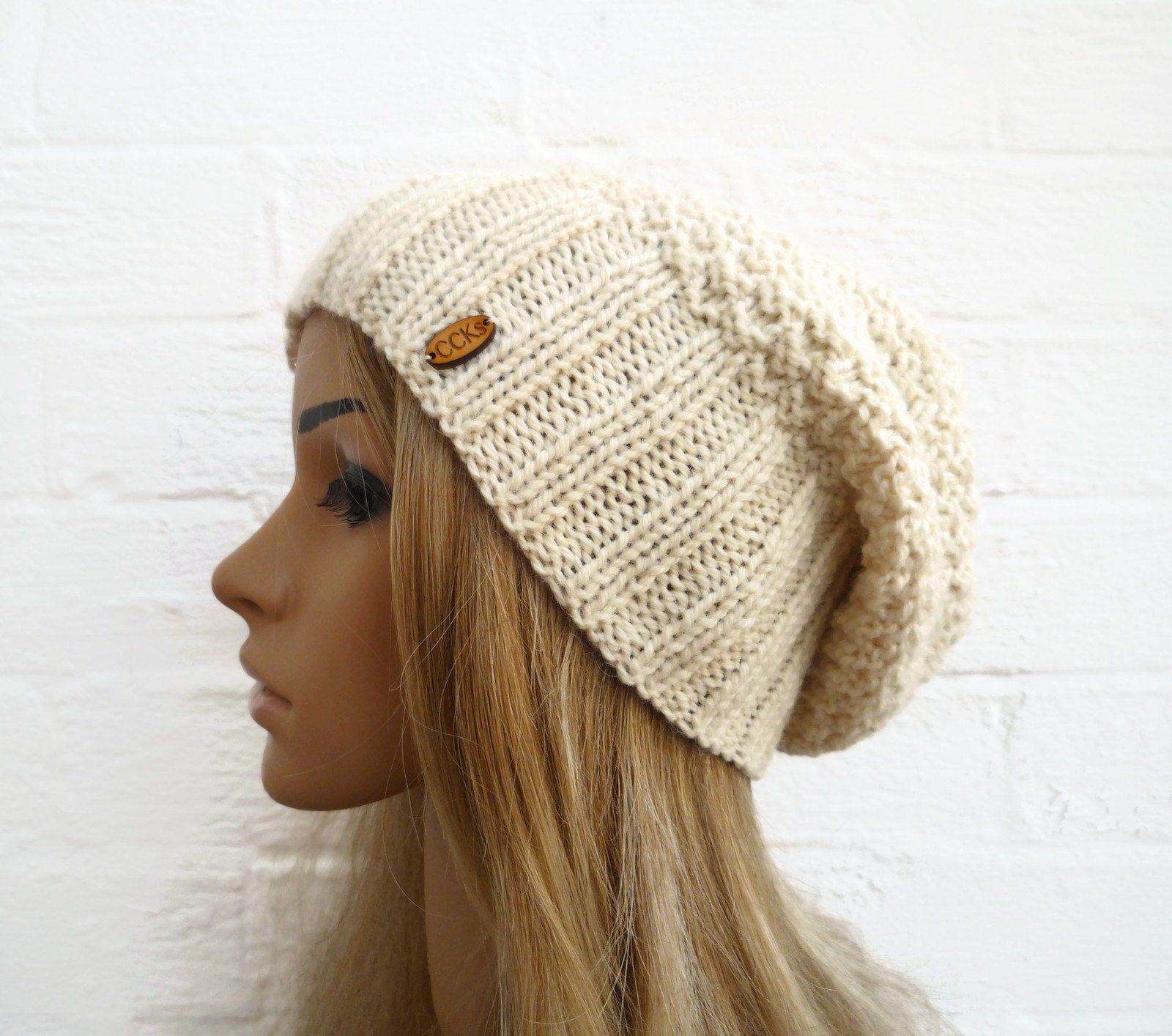 Hand Knit Chunky Beanie Cable Knit Hat Winter accessories Mens Slouchy Beanie Slouch Men Hat Wool Hat Mustard tweed