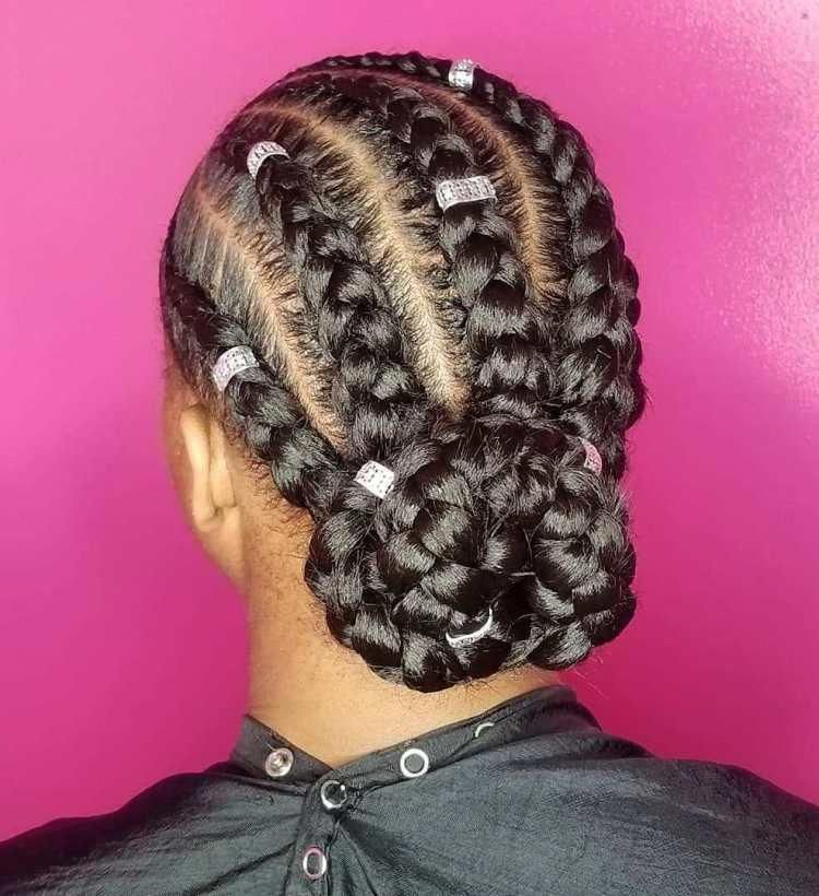 Beaded Goddess Braids To Low Bun Updo hairbraids ...