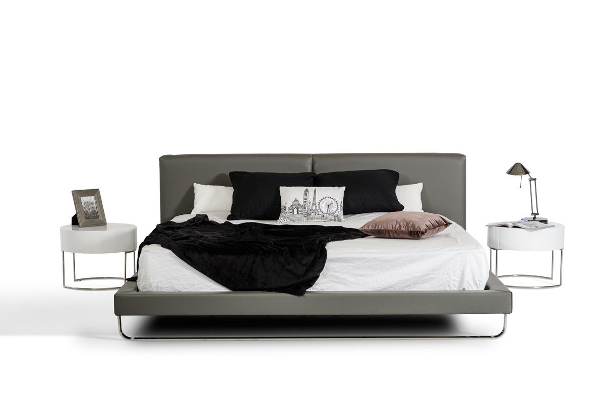 Modrest ramona modern grey leather bed modern furniture for your