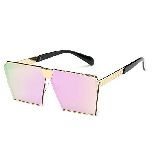 266b6ebc21e48 JOJO S SECRET Oversized Square Sunglasses Metal Frame Flat Top Sunglasses  JS009