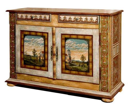 Jean Pierre Besenval Painted Sideboard Peinture Sur Bois Painting Meubles Peints