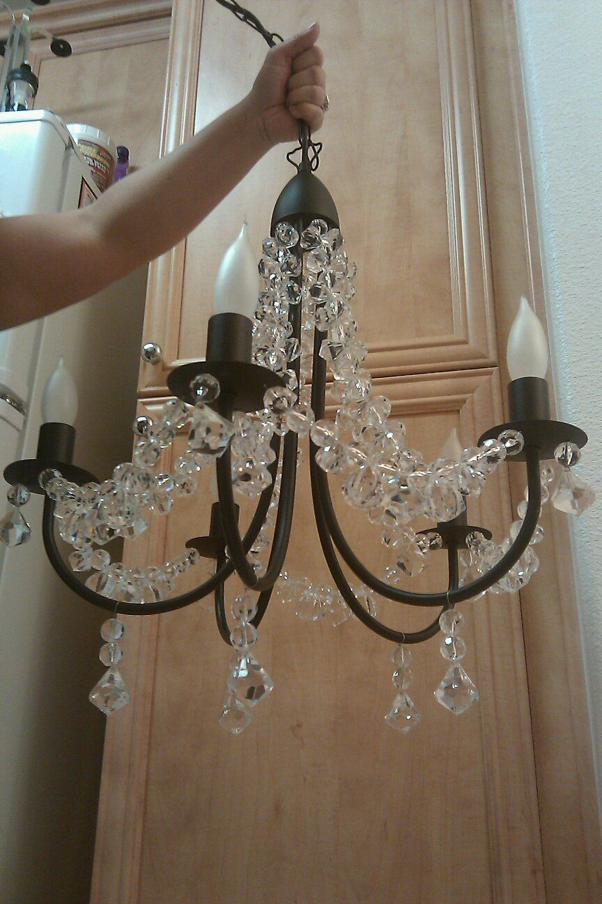 Diy Chandelier Ikea Chandelier W Crystals From Micheals Chandelier Ikea Painted Out Into Different Color Candelabros Muebles Reciclados Candiles