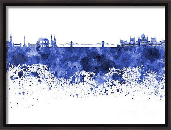Budapest Skyline In Watercolor On White Background Canvas Print