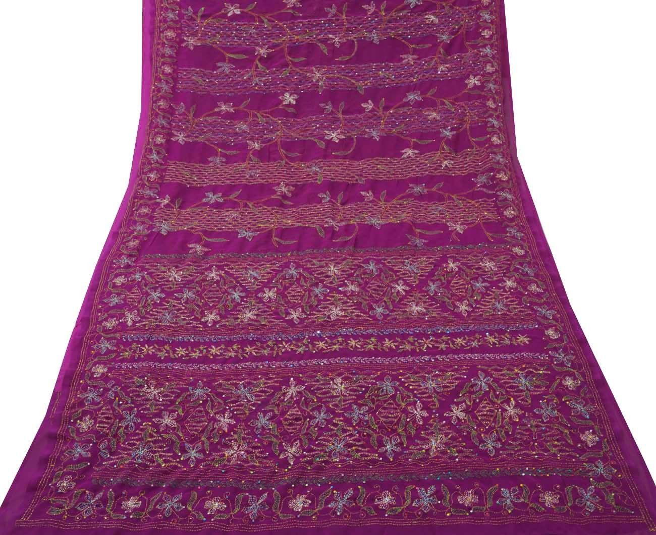INDIAN VINTAGE CRAFT SAREE KANTHA EMBROIDERED FABRIC DÉCOR SARONG PURPLE SARI