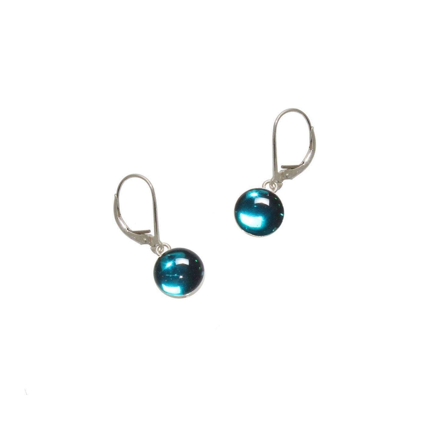 Teal Gumdrop Earrings