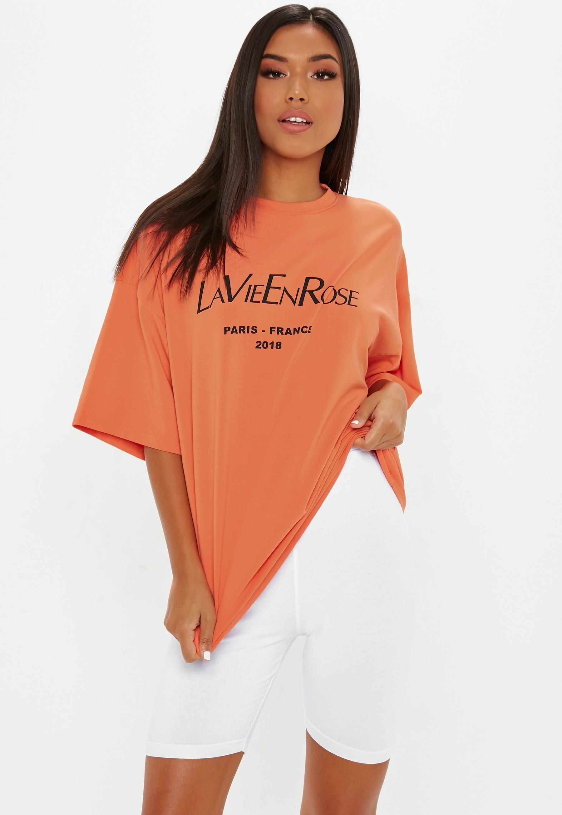 Orange La Vie Drop Shoulder Oversized T Shirt   Missguided ...