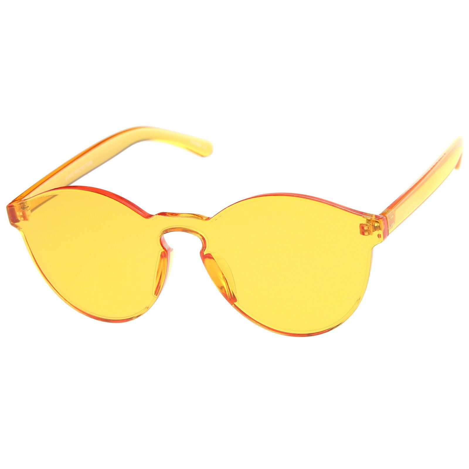 b921b793fe5 One Piece PC Lens Rimless Ultra-Bold Colorful Mono Block Sunglasses ...