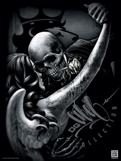 Tango 18x24 Poster Chicano Art Og Abel Art Skull Skull Art