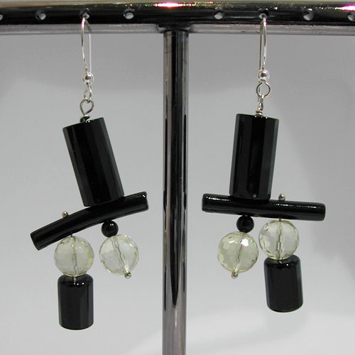 Boucles d'oreilles onyx citrine corail noir 11
