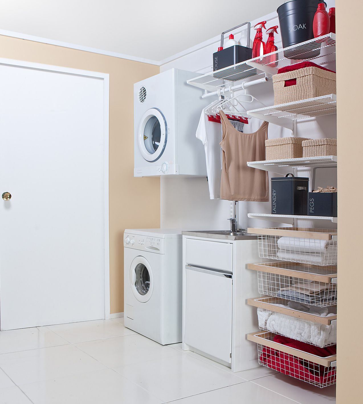 Walk through laundry. Solutions for every space available at Howards Storage  World