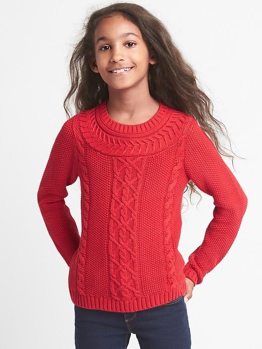 Products Sweater Cable Modern Knitting Crew Knit Girls Gap Red 5wvxqI0qC