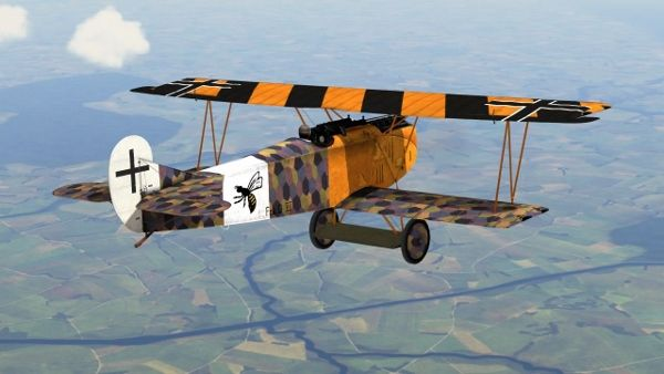 In January 1918 a competition open to single-seater fighters powered by the 160 hp Mercedes engine was held at Johannisthal, near Berlin. It was won outright by an angular little biplane with thick cantilever wings, the Fokker D.VII, designed by Reinhold Platz. Replica pictured.
