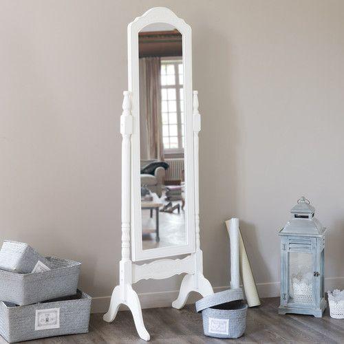 Espejo de pie de madera de paulonia blanca al 169 cm for Espejo pie blanco