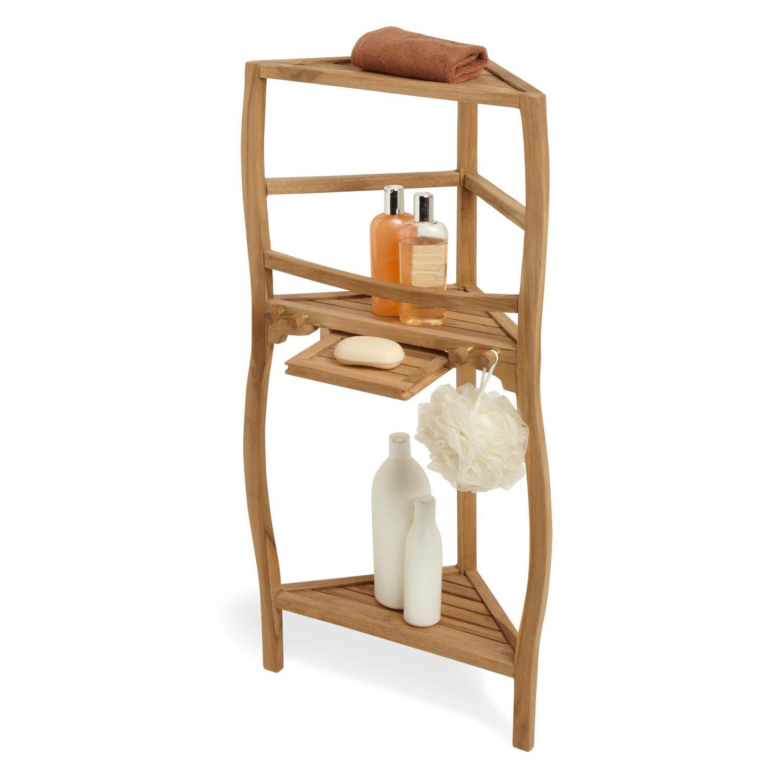 36 Three Tier Teak Corner Bath Shelf With Curved Legs Shower