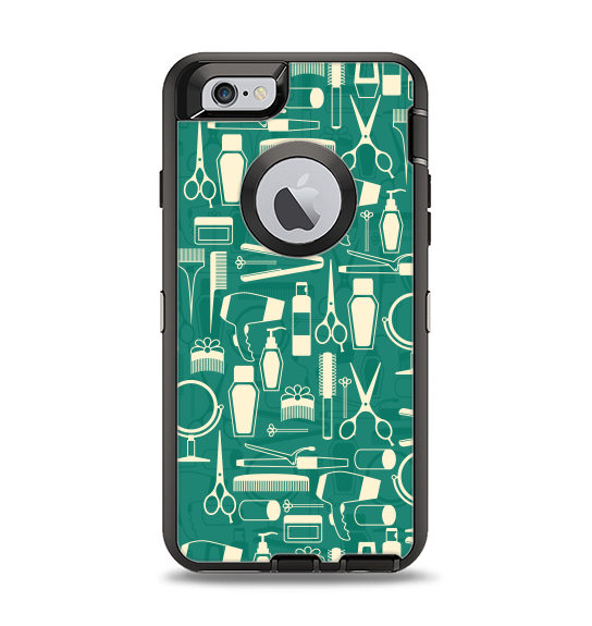 The Teal and Yellow Beauty Product Icons Apple iPhone 6 Otterbox Defender Case Skin Set