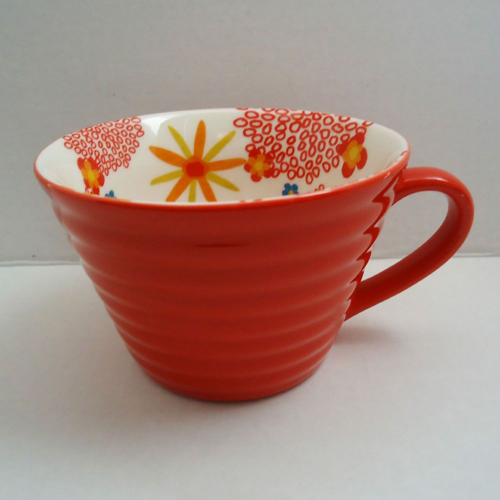 Starbucks 2007 Ribbed Red Flowers Floral Interior Wide 12 oz Coffee Soup Cup Mug #Starbucks