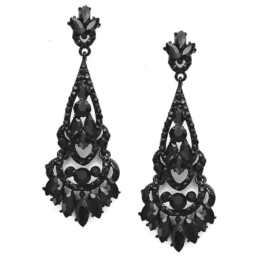 Jet black long crystal chandelier earrings elegant prom evening jet black long crystal chandelier earrings elegant prom evening formal jewelry mozeypictures Image collections
