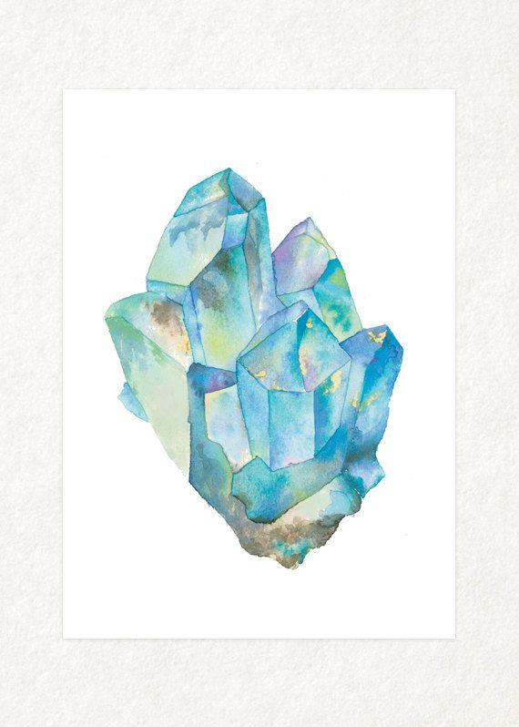 Aquamarine 1 5 X 7 Watercolor Art Print Ot Songdancedesign