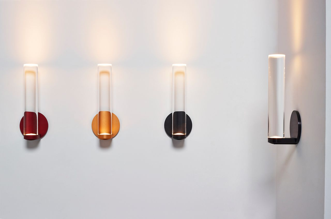Vessel lighting fixtures by todd bracher and 3m architectural markets feature solid quartz cylindrical bodies with an led fitted at the top of the fixture