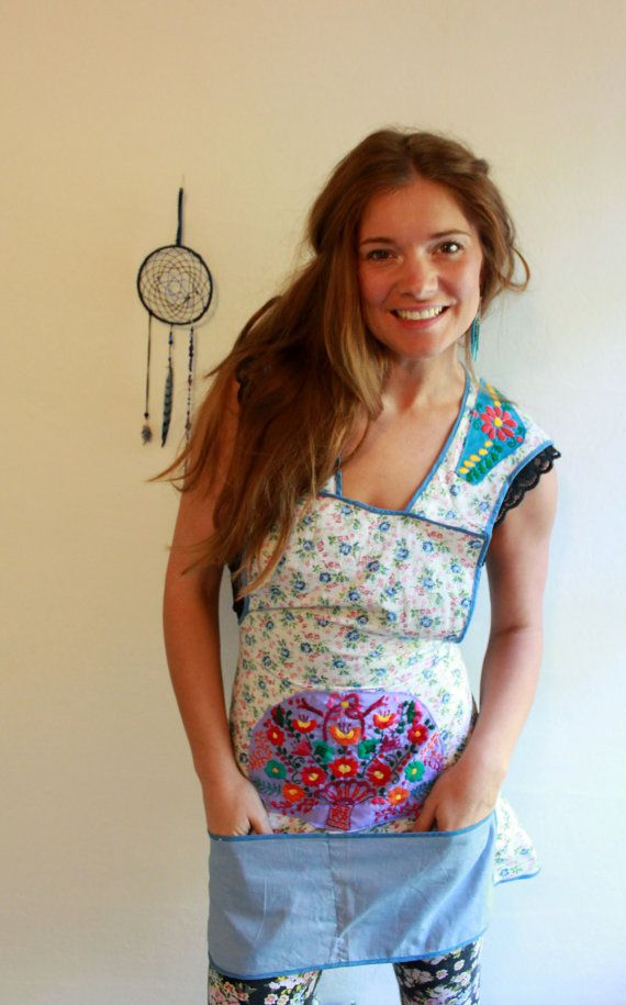 Vintage Upcycled Blue Floral Mexican by MountainGirlClothing, $35.00