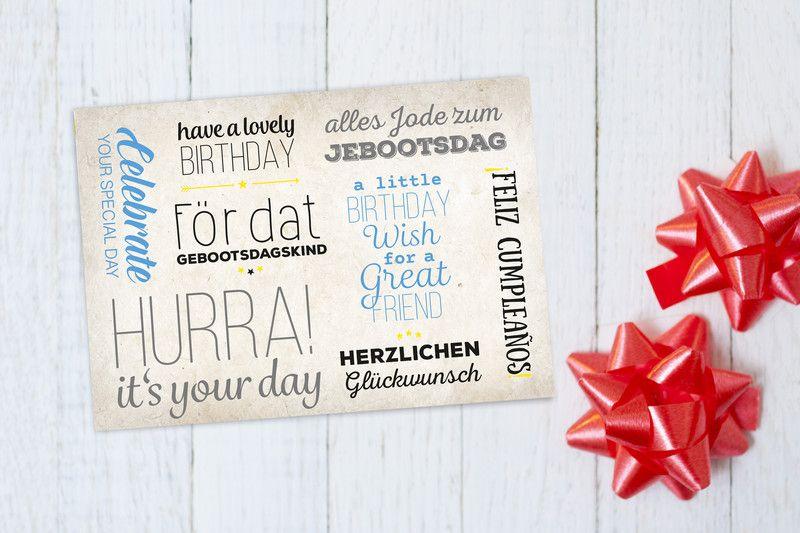 Postkarten Postkarte Geburtstagsgrusse Ein Designerstuck Von