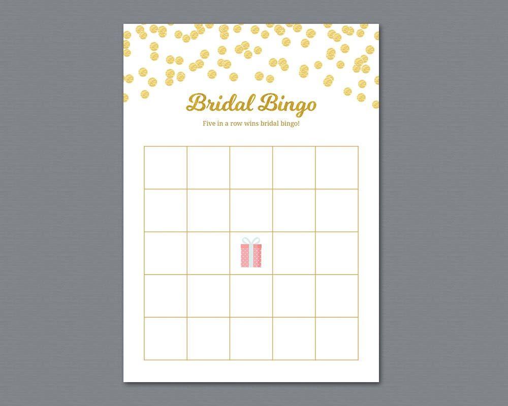 Bridal Bingo Game Cards, Bridal #Shower Bingo Template, Gold ...