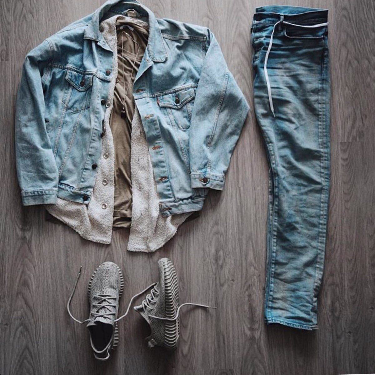 Outfit Grid | Denim Jacket | adidas Yeezy 350 Boost