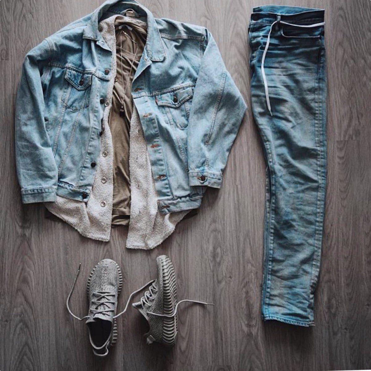 Outfit Grid | Denim Jacket | adidas Yeezy 350 Boost