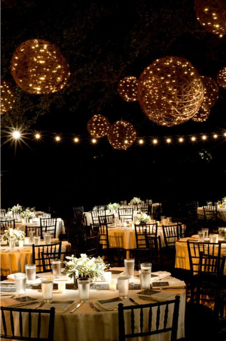 Globes of little white lights. Follow us @SIGNATUREBRIDE on Twitter and on FACEBOOK @ SIGNATURE BRIDE MAGAZINE