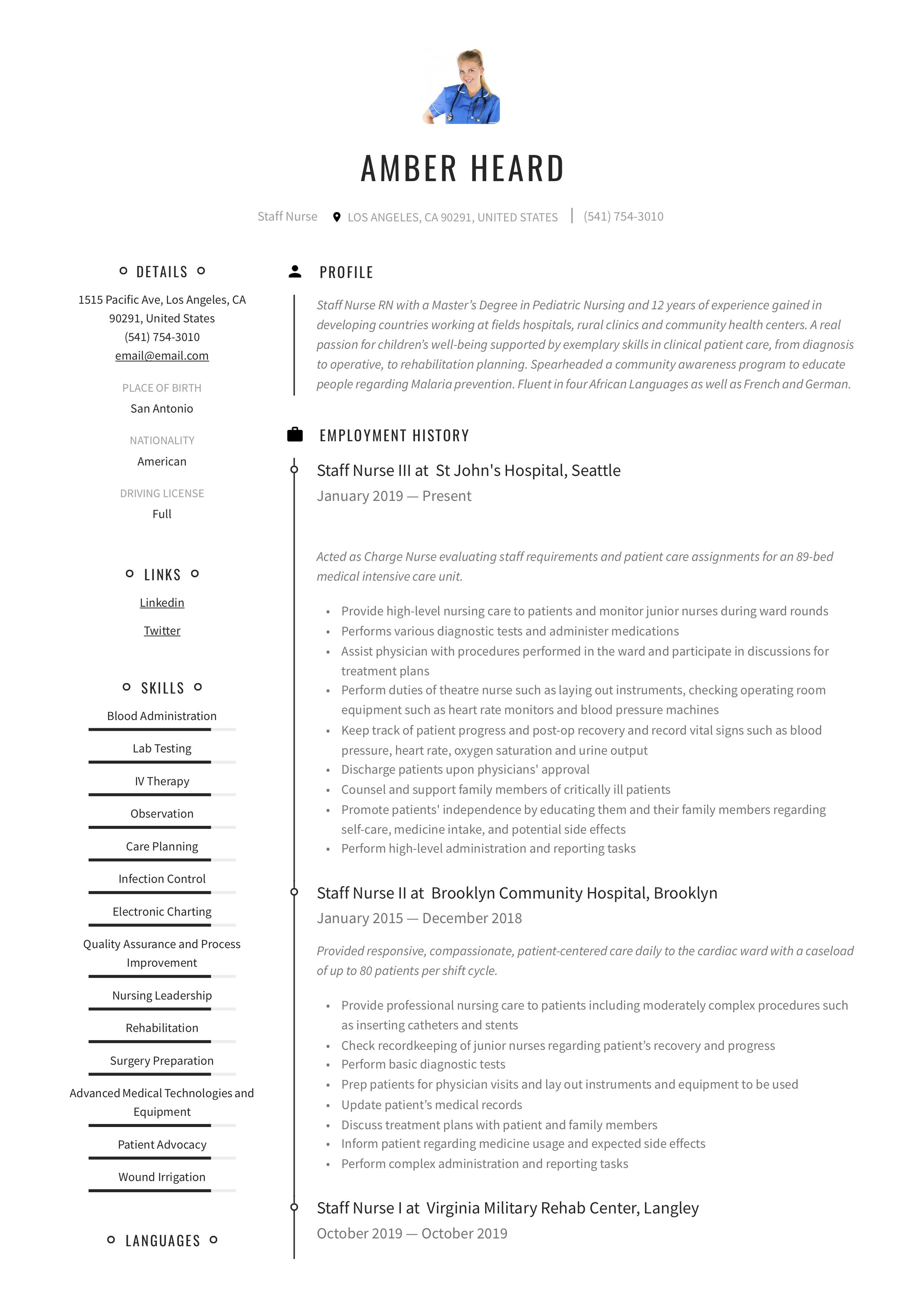 Staff Nurse Resume Example in 2020 Manager resume