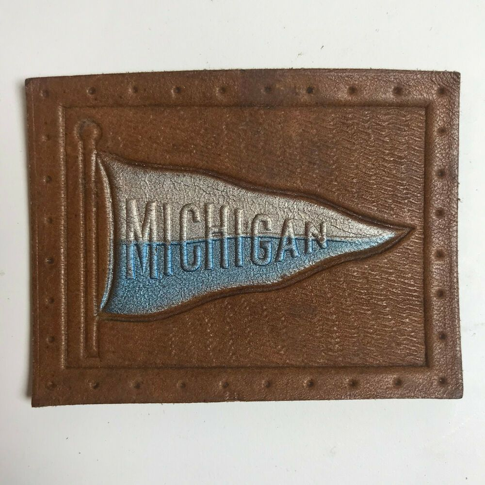 Michigan State University Flag Pennant Tobacco Leather