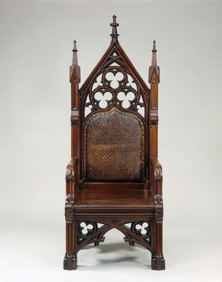 Walnut Gothic Revival armchair, attributed to Gustave Herter, ca. 1855