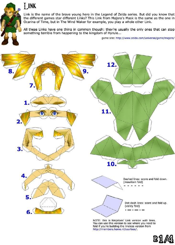 legend of zelda link papercraft template