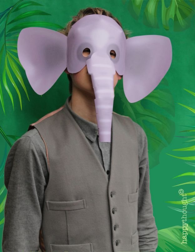 Make this wonderful paper elephant mask! Download the template at ...