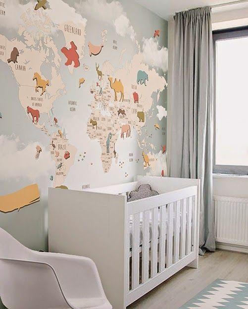Papel pintado de mapas para cuarto de beb 01 papel - Papel pintado habitacion infantil nina ...