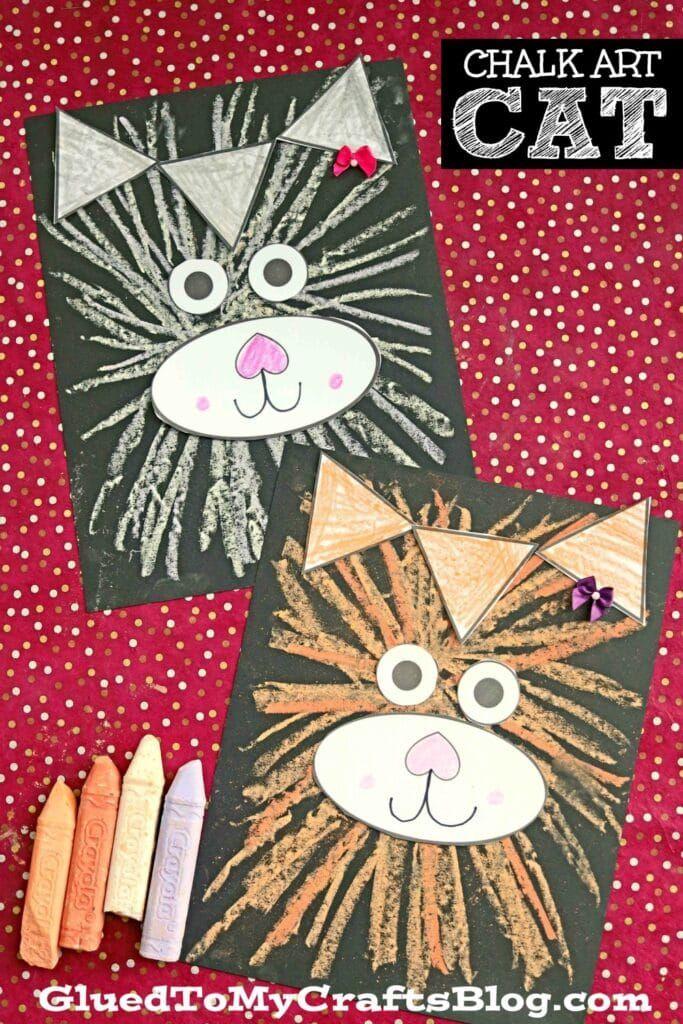 Paper & Sidewalk Chalk Fluffy Kitten On Paper Kid Craft Idea