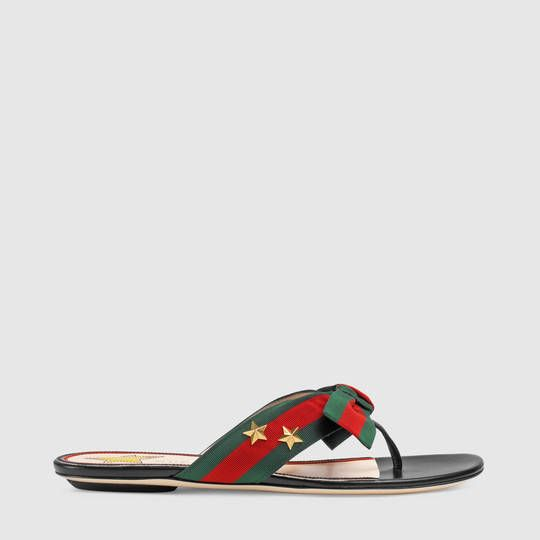 0a964af1a09b Gucci Studded grosgrain Web thong sandal