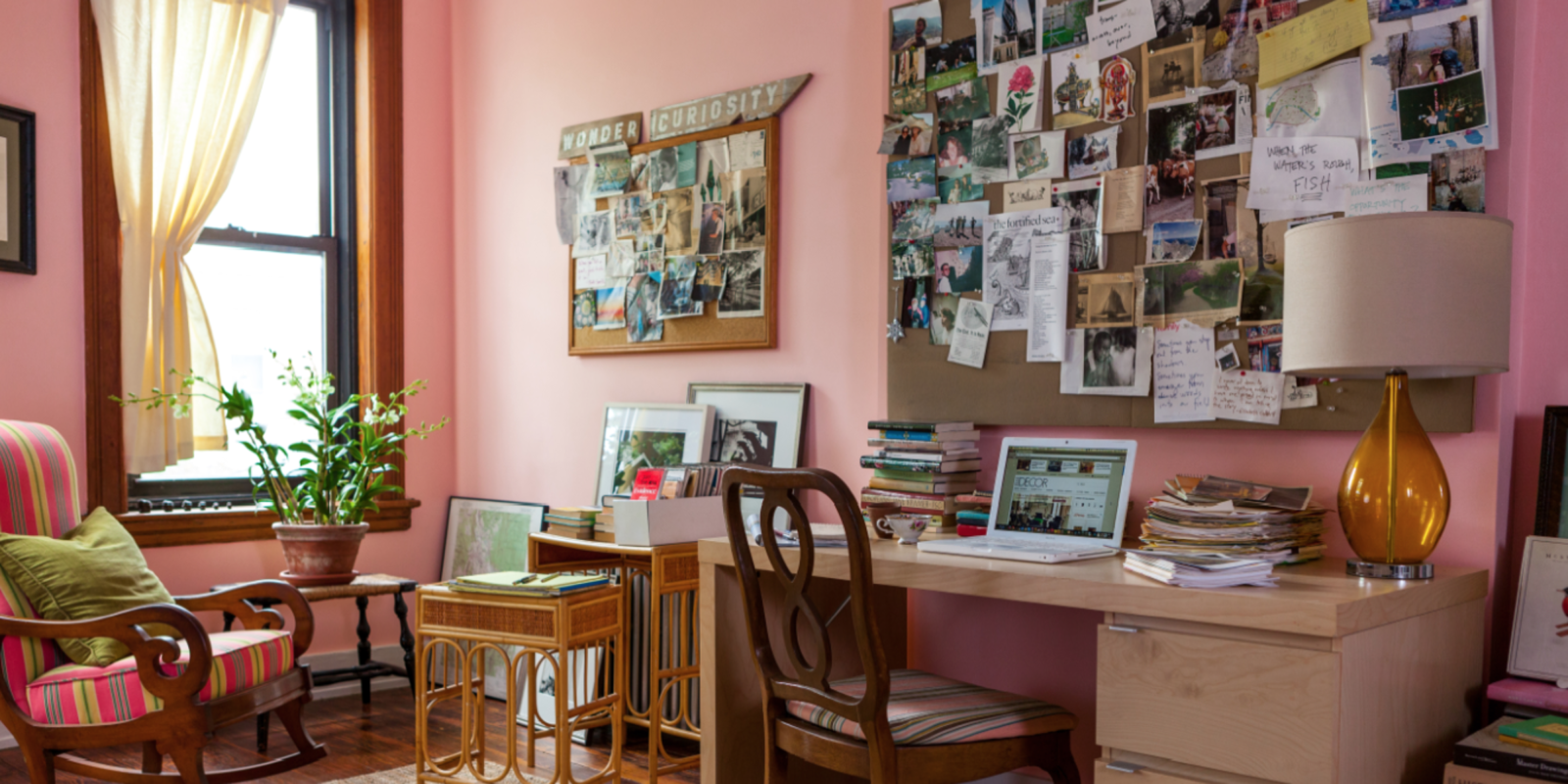 Collecting ideas for my new home office. I really like the honey wood with the pink walls and the lived in look .