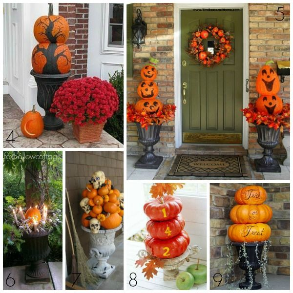 Pumpkin Topiary Ideas Part - 17: Halloween Decorating Ideas Porch Pumpkin Urn