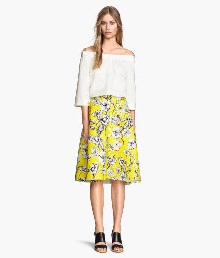 ac0a2a4aa5 H&M yellow floral midi skirt | Accessories Display & Organization ...